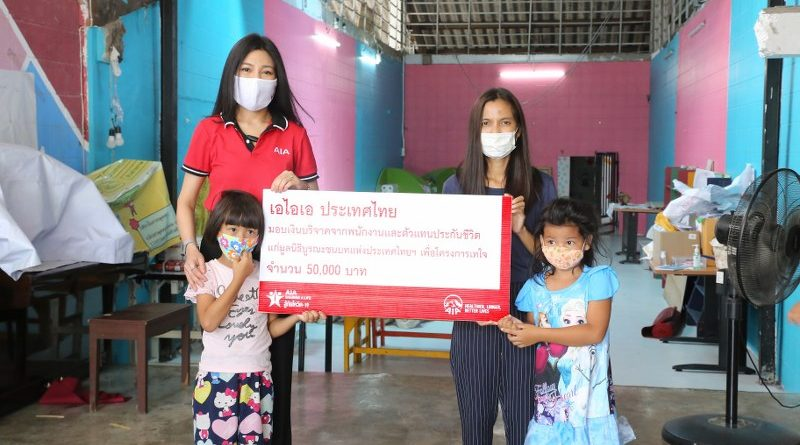 เอไอเอ ประเทศไทย มอบเงินบริจาคจากพนักงานและตัวแทนประกันชีวิต  จำนวน 50,000 บาท แก่มูลนิธิบูรณะชนบทแห่งประเทศไทยฯ เพื่อโครงการเทใจ